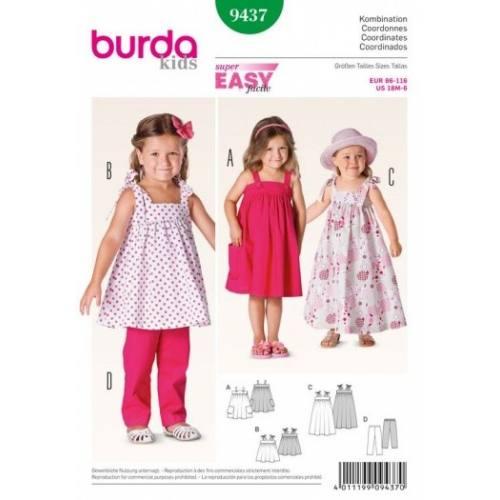 Patron Burda 9437 : Coordonnés petite fille 18 mois à 6 ans