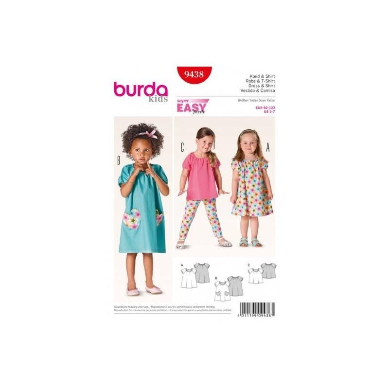 Patron Burda 9438 : Robe et t-shirt 2 ans à 7 ans