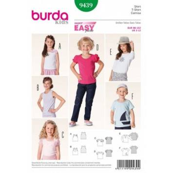 Patron Burda 9439 : T-shirt 3 ans à 12 ans