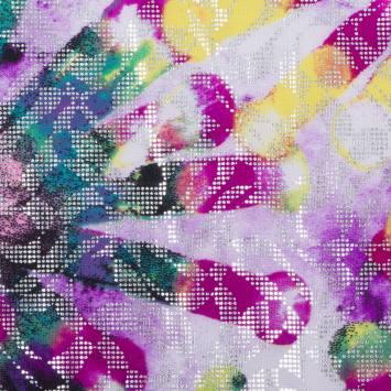 Lycra imprimé pourpre et lilas