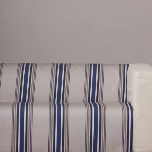 Toile extérieure Téflon rayures grise et bleu