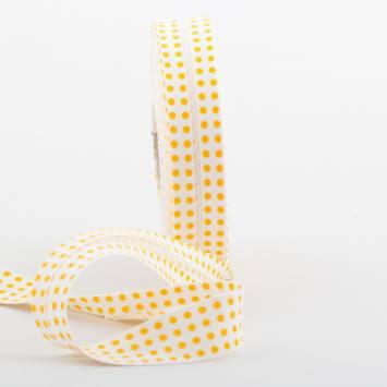 Bobine de biais 20 M - blanc à pois jaune