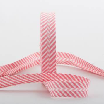 Bobine de biais 20 M - rayures blanc et rose