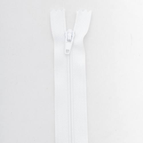 Fermeture 55 cm polyester non séparable blanc col 101