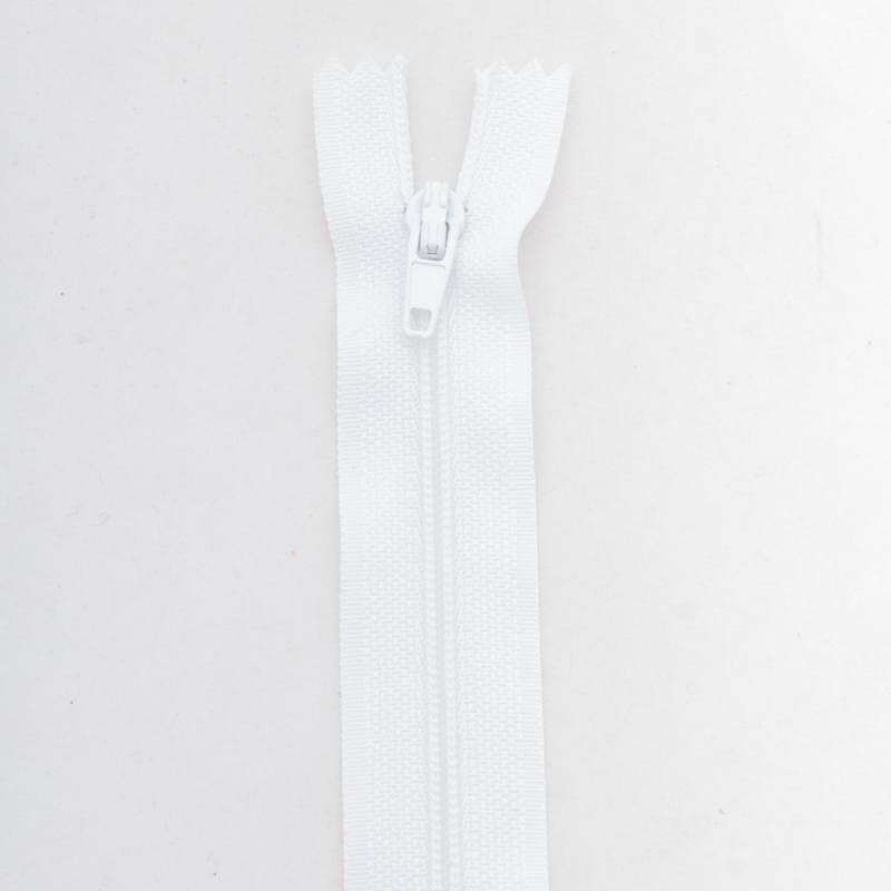Fermeture 30 cm Polyester non séparable blanc col 101