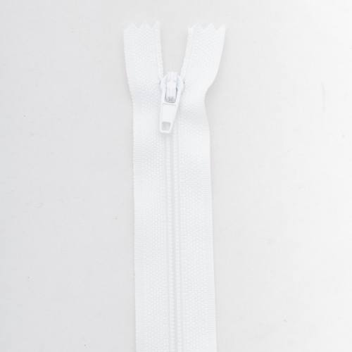 Fermeture 60 cm polyester non séparable blanc col 101