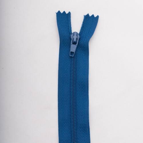Fermeture 45 cm polyester non séparable bleu col 145