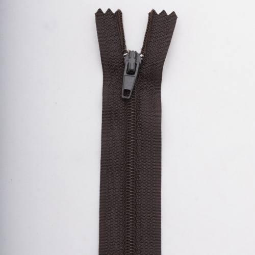 Fermeture 20 cm polyester non séparable marron Col 161
