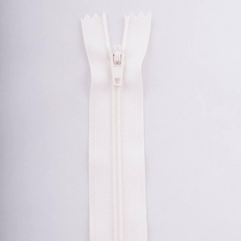 Fermeture 45 cm polyester non séparable écru col 154