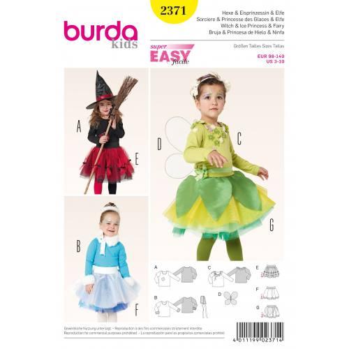 Patron Burda 2371 : Sorcière, Princesse des glaces et Elfe T98 à 140
