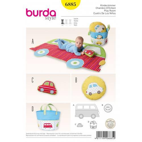 Patron Burda 6885 : Tapis de jeu, coussin, sac en tissu