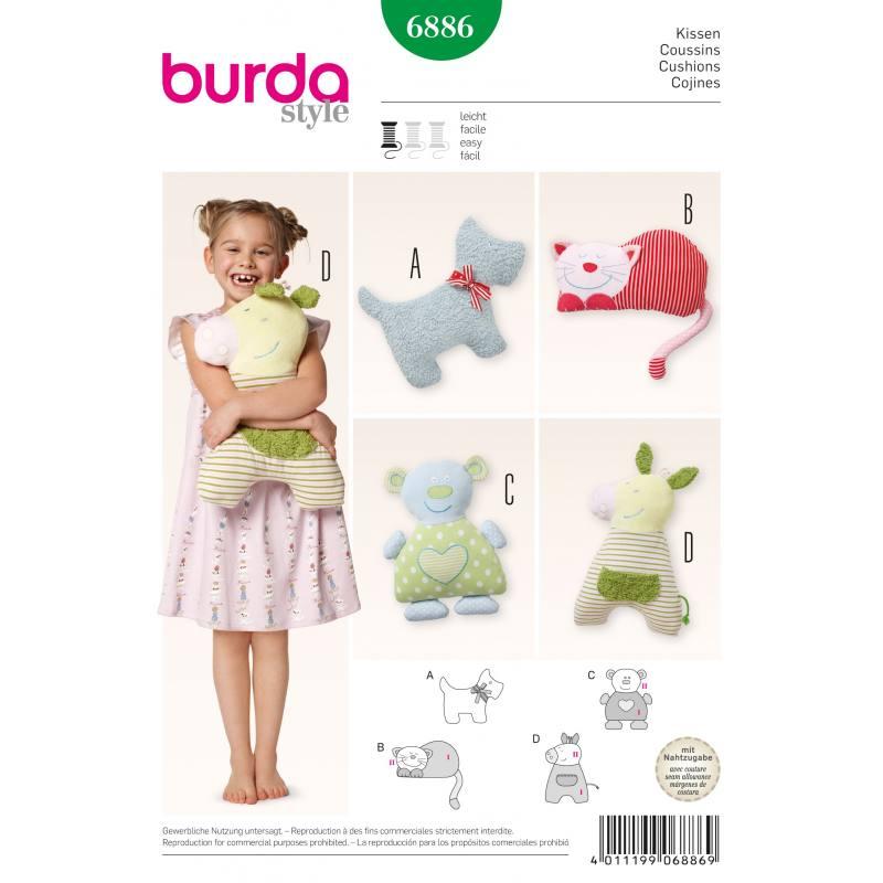 Patron Burda 6886 : Coussins chien, chat, ours, petit cheval