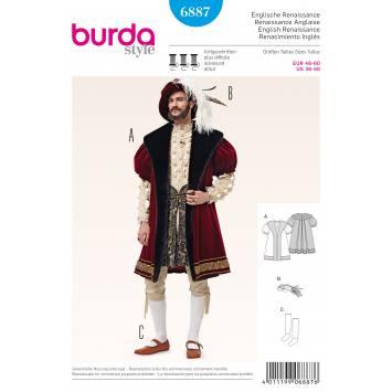 Patron Burda 6887 : Déguisement Renaissance anglaise T46 à 60
