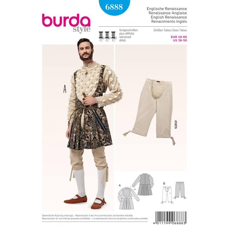 Patron Burda 6888 : Déguisement Renaissance anglaise T46 à 60