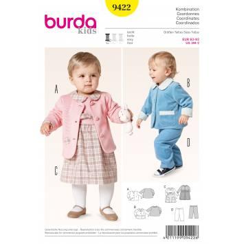 Patron Burda 9422 : Veste, robe, pantalon à enfiler T62 à 92