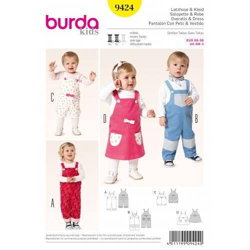 Patron Burda 9424 : Salopette et robe T68 à 98