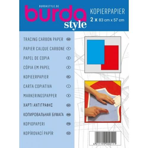Papier calque carbone Burda - lot de 2 feuilles Rouge et Bleu