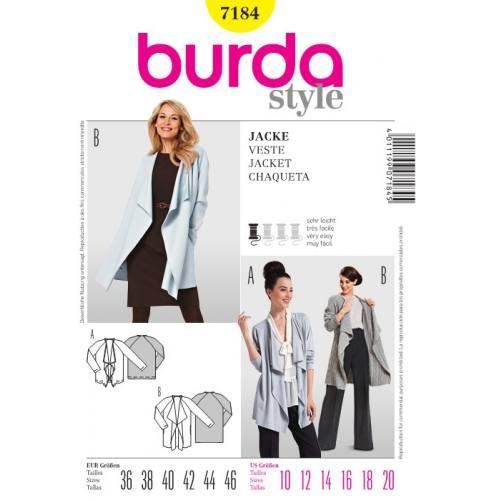 Patron Burda 7184 : Veste T 36 à 46