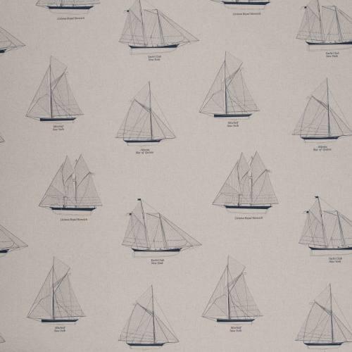 Toile coton motifs bateaux bleus foncés