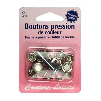 Kit de base boutons pression couleur perle x6