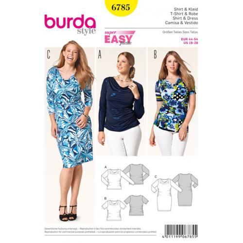 Patron N°6785 Burda style : Tee-shirt et robe Taille : 44-54