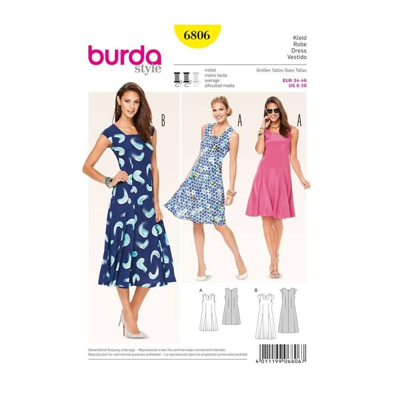 patron n 6806 burda style robe taille 34 46. Black Bedroom Furniture Sets. Home Design Ideas