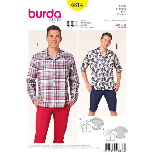 Patron N°6814 Burda Style : Chemise homme Taille : 44-60