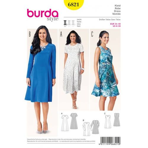 Patron N°6821 Burda Style : Robe Taille : 34-46