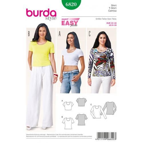 Patron N°6820 Burda Style : Tee-shirt Taille: 32-46