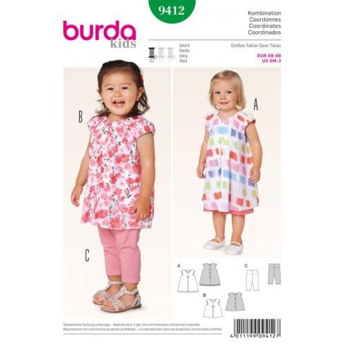Patron N°9412 Burda Kids : Ensemble bébé Taille: 68cm à 98cm