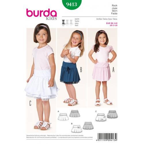 Patron N°9413 Burda Kids : Jupe fillette Taille: 98cm à 140cm