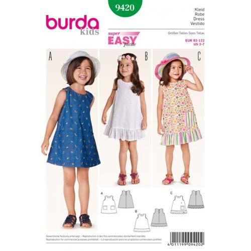 Patron N°9420 Burda Kids : Robe Taille: 92cm à 122cm