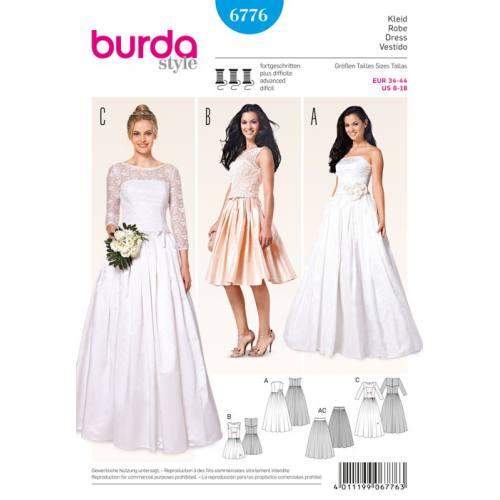 Patron N°6776 Burda Style: Robe cocktail ou de mariée Taille : 34-44