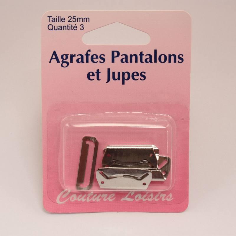 Agrafes pour pantalons-jupes col. nickelé X3