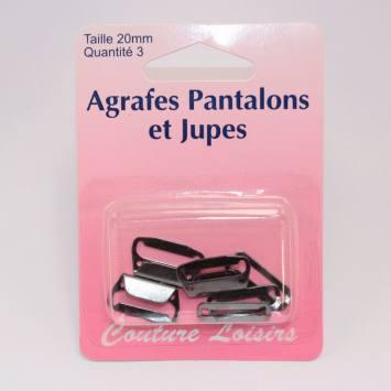 Agrafes pour pantalons-jupes col. noir X3 20mm