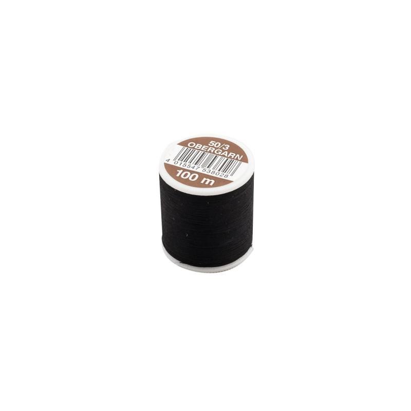 Fil coton noir bobine de 100m