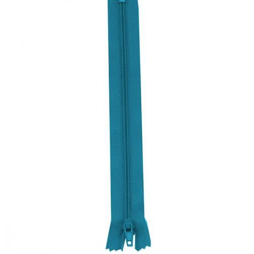 Fermeture 20 cm Polyester non séparable bleu canard col 135