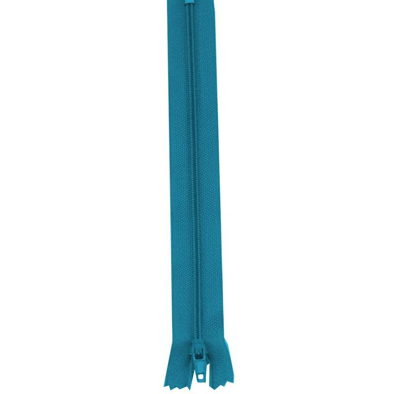Fermeture 30 cm Polyester non séparable bleu canard col 135