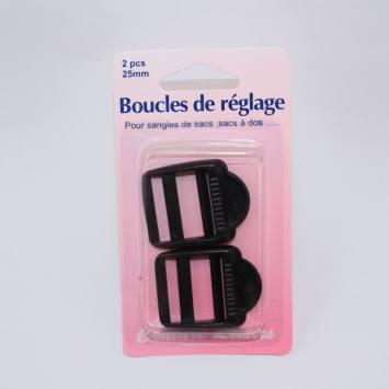 Boucles de règlage pour sangle col. noir X2 Taille 25mm