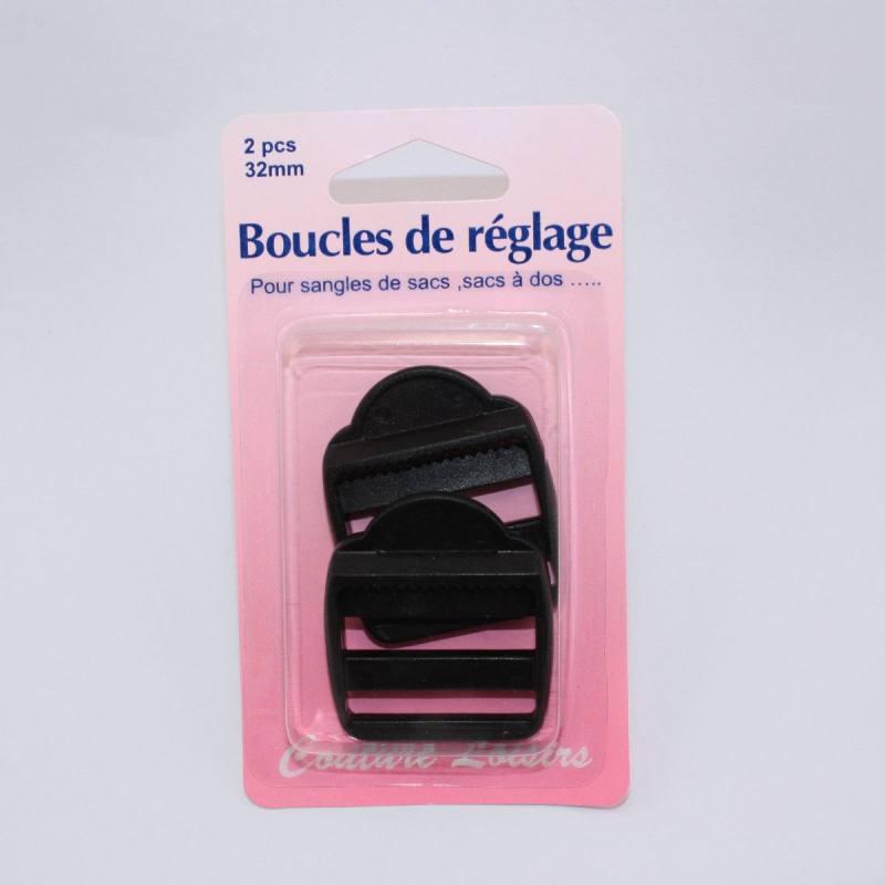 Boucles de règlage pour sangle col. noir X2 Taille 32mm