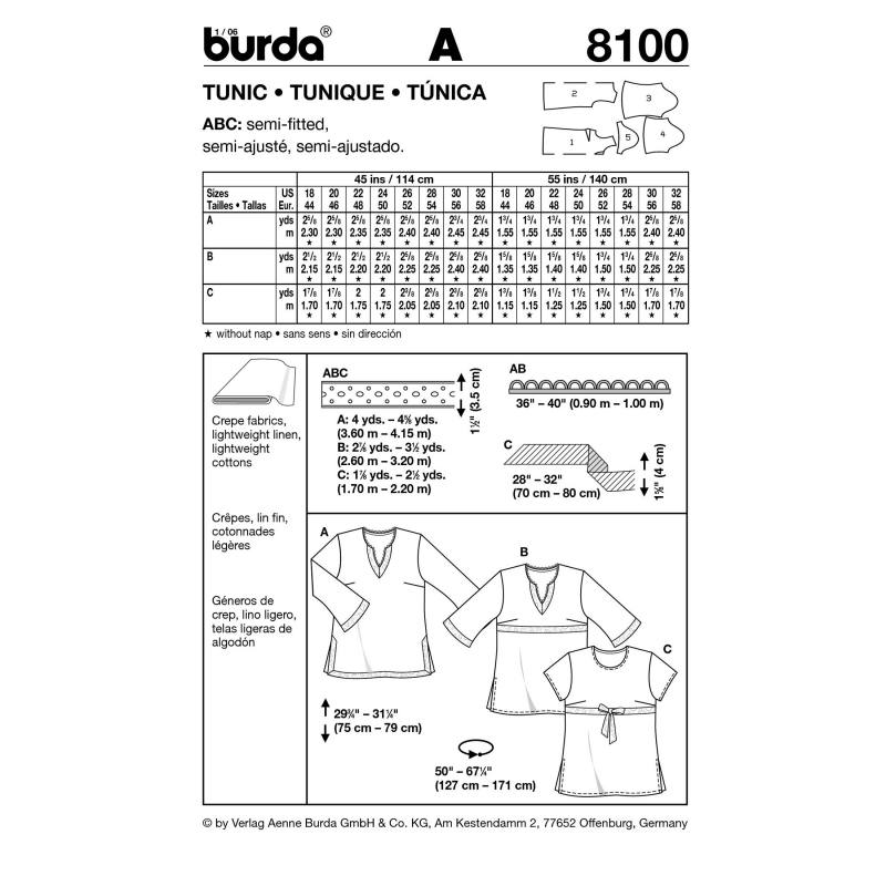 Patron N°8100 Burda style : Tunique Taille : 44-58
