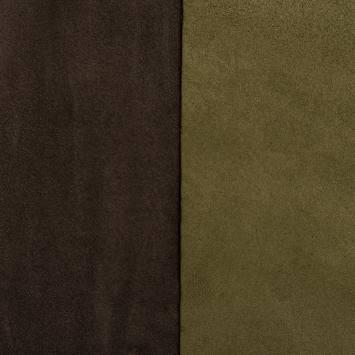 Suédine alaska réversible vert mousse/brun
