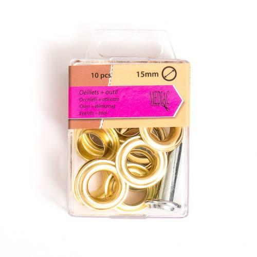 Oeillets 15 mm avec outillage doré X10