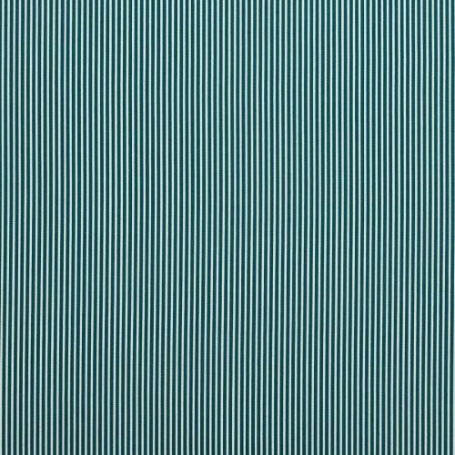 Coton bleu canard fines rayures blanches 3mm