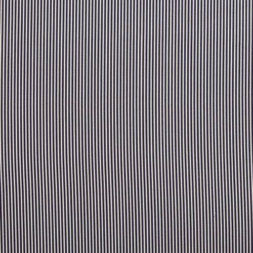 Coton bleu marine fines rayures blanches 3mm