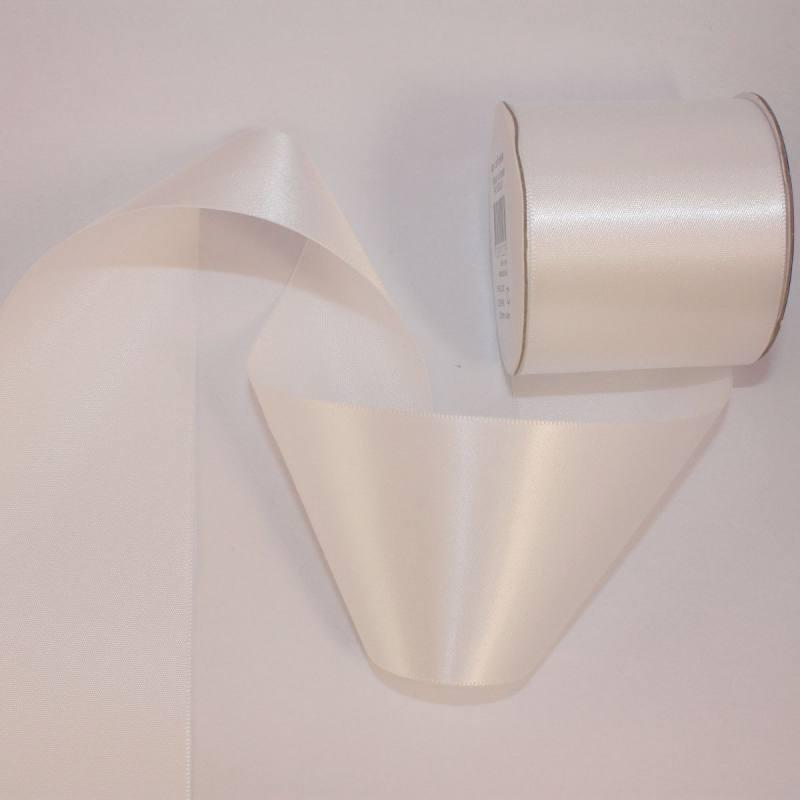 Ruban satin en bobine blanc 50 mm