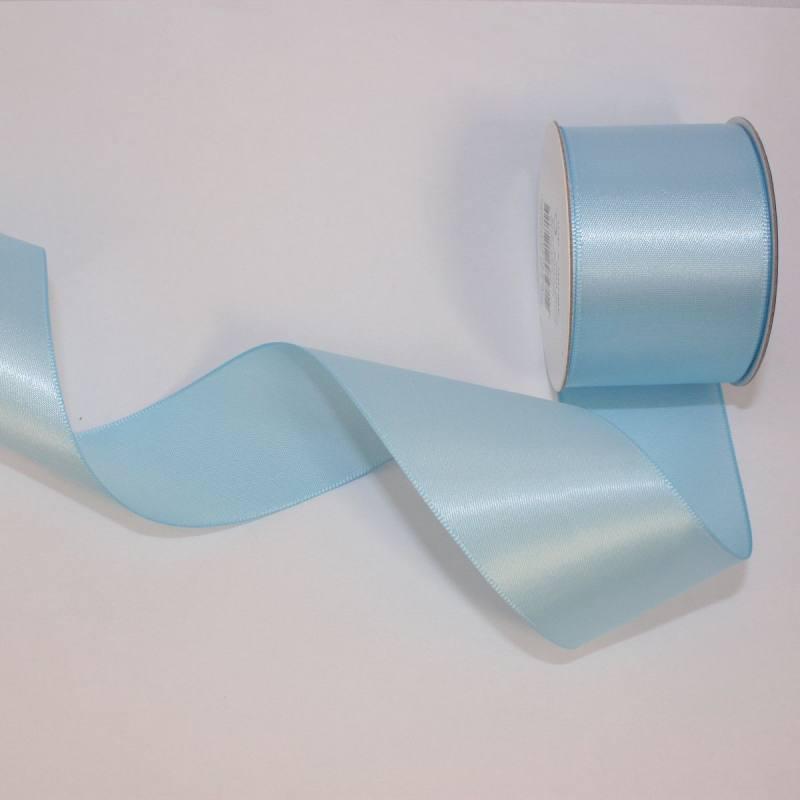 Ruban satin en bobine bleu ciel 38 mm