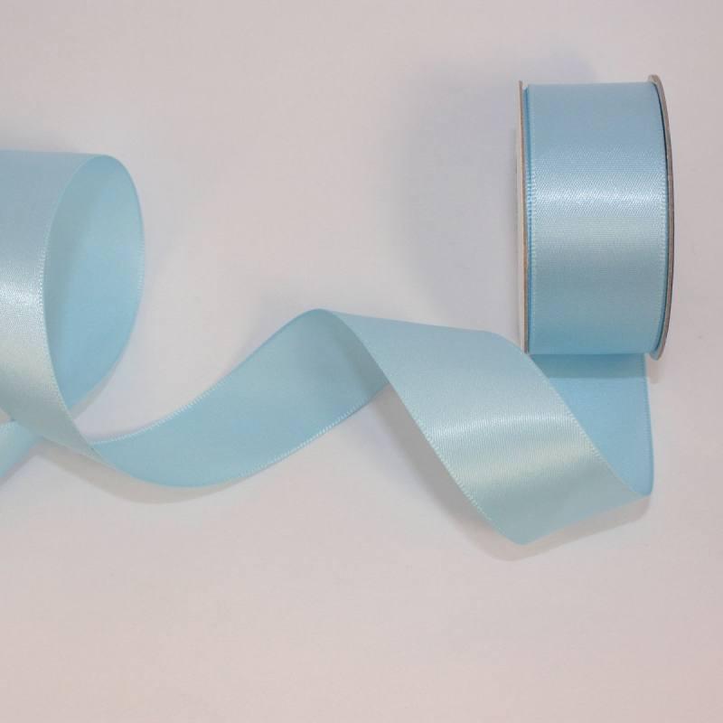 Ruban satin en bobine bleu ciel 25 mm