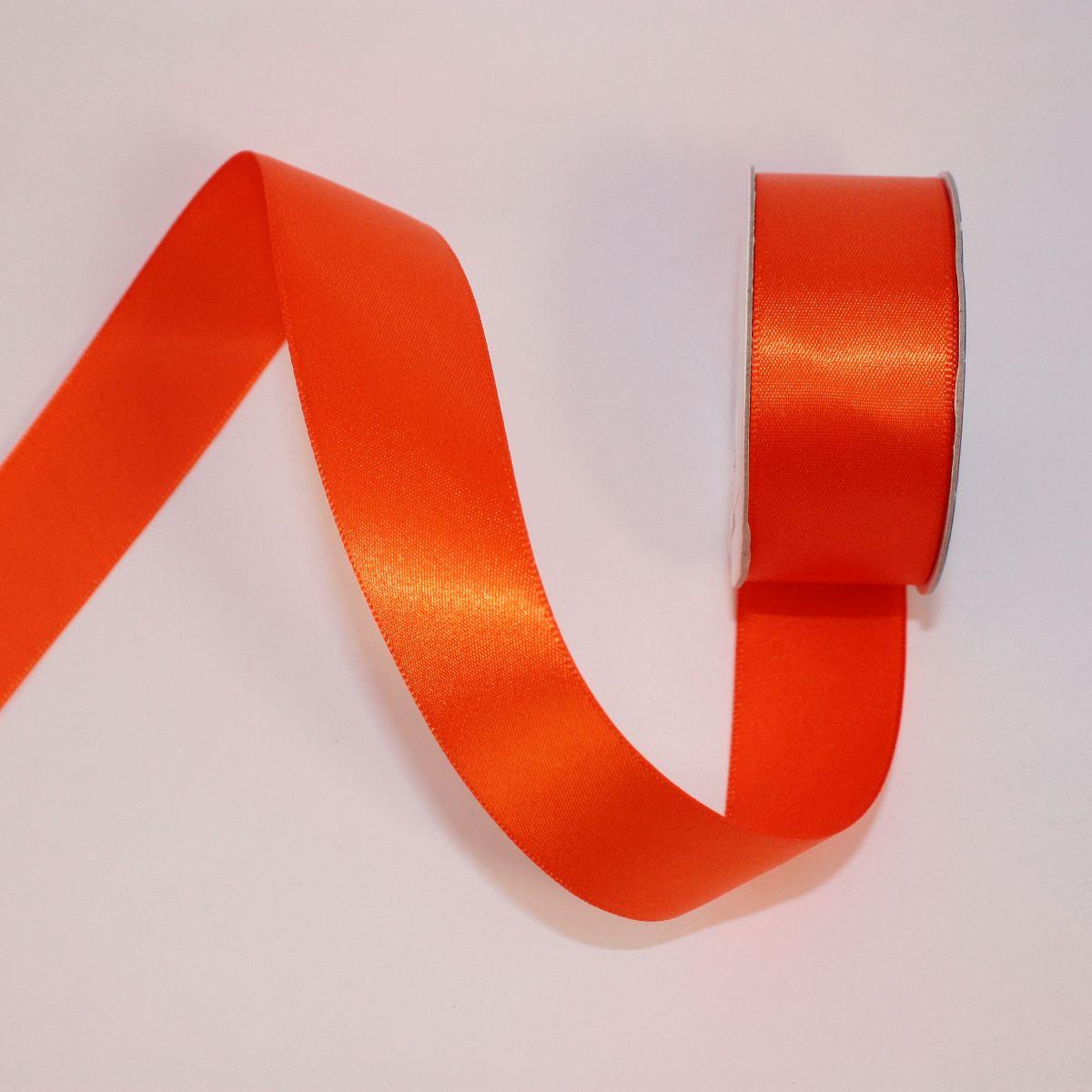 Ruban satin en bobine orange sanguine 25 mm