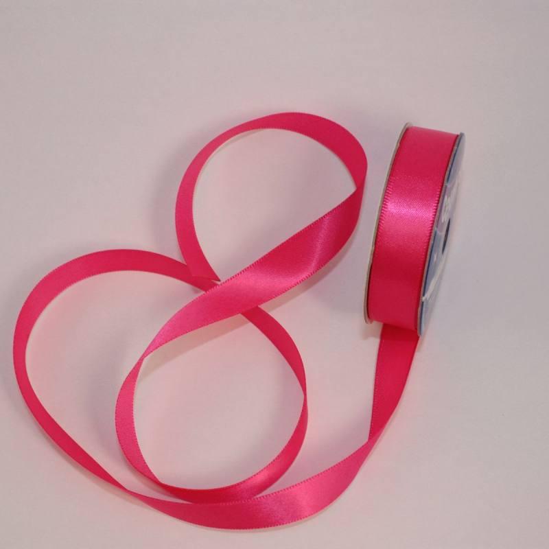 Ruban satin en bobine rose foncé 13 mm